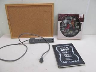 bulletin board, power strip, therometer,book