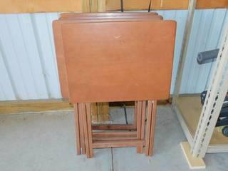 4 Wood Folding TV Trays