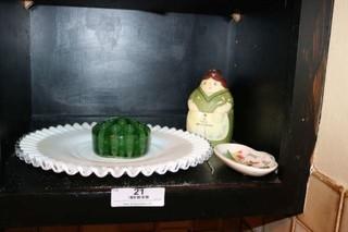 Center Plate, Glass Flower Frog, & More