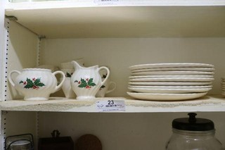 Set of Holly-Patterned Dishes