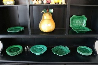 Green Plates And Pear Cookie Jar