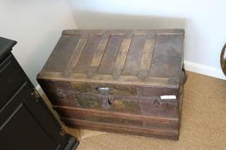 Antique Flat-Top Trunk
