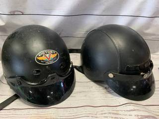 2 Motorcycle Half Shell Helmets Size L & XL