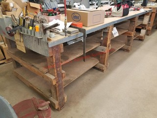 4 x 12 wood work bench -power outlets