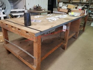 4 x 12 wood work bench- power outlets
