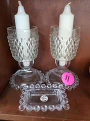3 pc CLEAR GLASS CANDLE SET