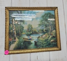 NICE OLD GOLD FRAME CREEK PICTURE