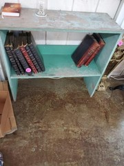 OLD BLUE WOOD BOOKCASE