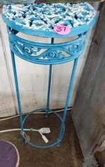 WROUGHT IRON BLUE PLANT STAND