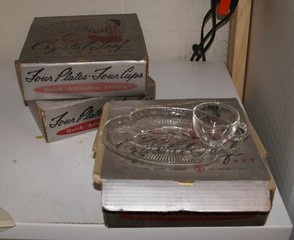 3 Crystal Leaf Luncheon Sets in the Box