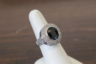 14k White Gold Diamond & Sapphire Ring - Lady's