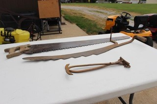 Antique Saw, Hay Knife, & Ice Tongs