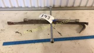 (2) Crow Bars (1) Tire Iron