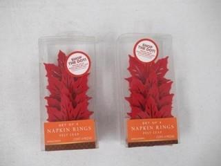 (2) Set Of 4 Red Felt Leaf Napkin Rings