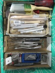 Box Lot - Misc. Utility Knives, Scrapers, Brushes