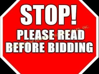 STOP - PLEASE READ BEFORE BIDDING IN THIS AUCTI