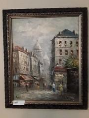 Framed French Street Scene Oil Painting