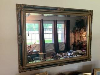 Framed Beveled Wall Mirror