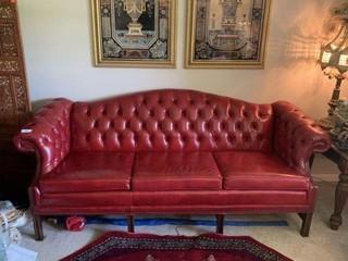 Leather Three-Cushion Sofa