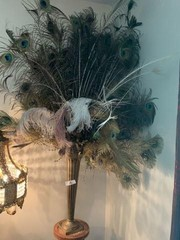 Tall Metal Vase With Peacock Feathers