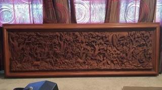 Hindu Carved 8' Teak Wood Wall Hanging
