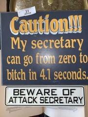 Pair of Secretary Themed Signs