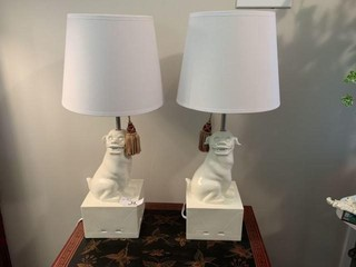 Pair of Happy Chic Foo Dog Table Lamps