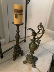 Brass Candle Holder And Brass Ewer