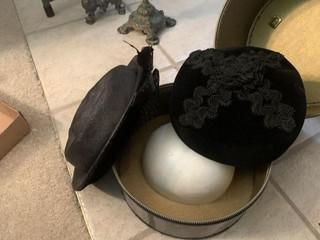 Pair of Vintage Ladies? Hats With Hat Case