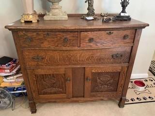 Antique 3-Drawer, 2-Door Cabinet