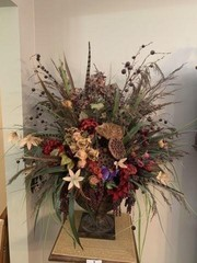 Resin Planter With Silk Flowers