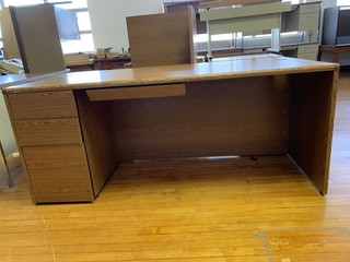 Large wood desk with attachment 72