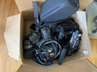 Box of miscellaneous video cameras