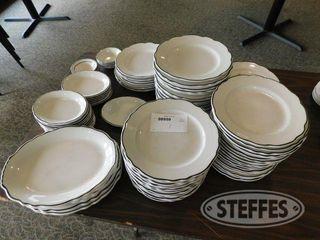 Assorted Ceramic Plates W Black Trim 2 jpg