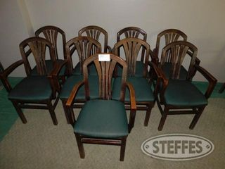 Approx 9 Padded Green Arm Chairs 2 jpg