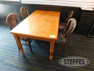 5 x3 Wood Table W 4 Chairs 2 jpg