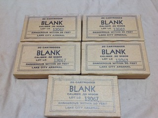 5 Boxes 30 Cal Blank Cartridges