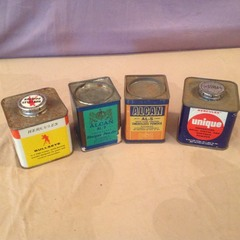 4 Vintage Cans Powder