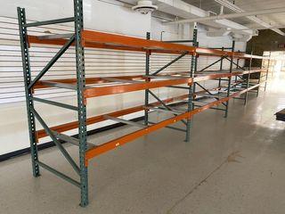 Large amount of pallet racking uprights, rails & shelf supports