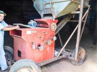 M2B seed cleaner on wheels and grain bin