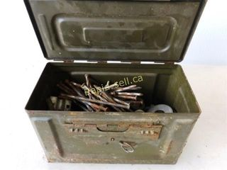 Metal Ammo Box with Lid & Contents