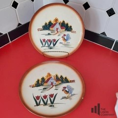 Two Hand Painted Farm Scene Plates