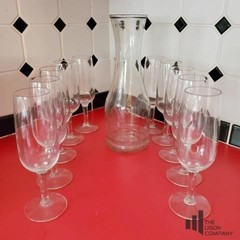 Decanter and Champagne Glasses