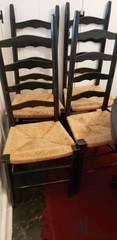 Set of Four Ladder Back Dining Chairs