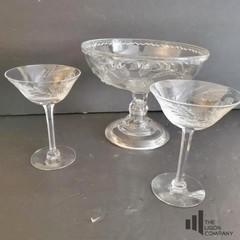 Raised Cut Glass Bowl and Martini Glasses