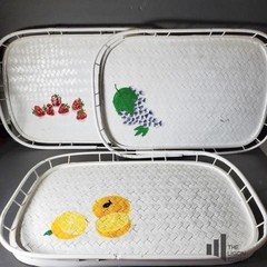 Hand Painted Wicker Serving Trays