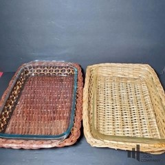 Pyrex Baking Dishes with Wicker Holders