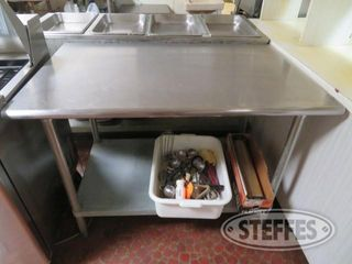 Stainless prep table 30 deep x 4 wide x 3 tall contents 0 JPG