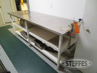 Pre table 30 deep x 8 wide x 3 tall w stainless top includes all contents pans trays 0 JPG