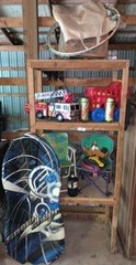 Wood Rack & Contents, Toys, Sled
